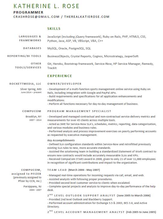katie rose resume